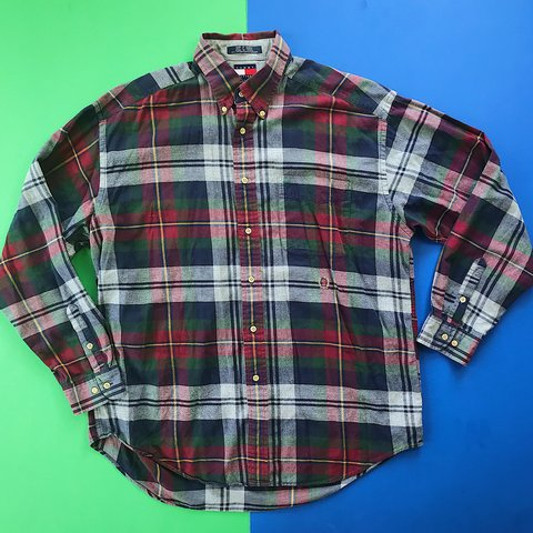 932bd595 @thriftstorepunk. 5 months ago. Wilson, United States. Vintage 90s Tommy  Hilfiger Plaid Flannel longsleeve shirt / Tagged men's size Large / great  ...
