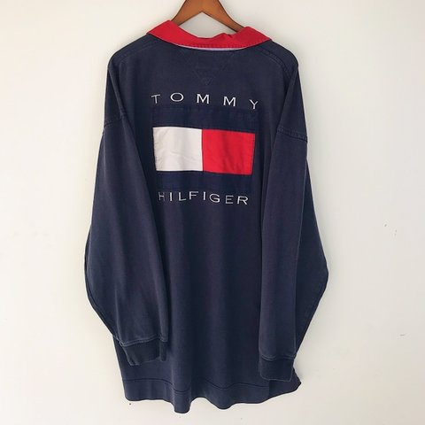 9a17d303 @thriftstorepunk. 7 months ago. Wilson, United States. Tommy Hilfiger  supergrail / Vintage 90s Big flag embroidered longsleeve polo rugby shirt /  Small ...