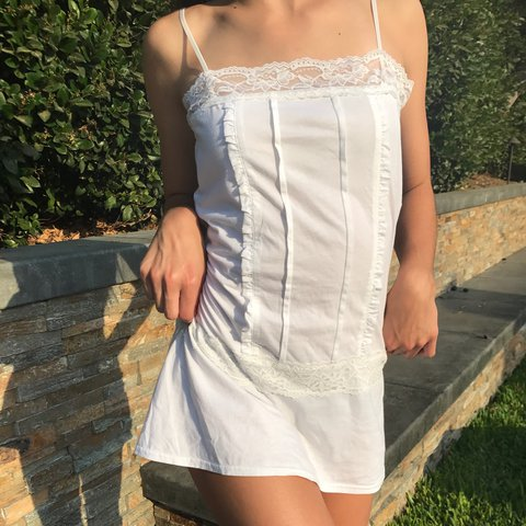 0c0be9c147 ❀COMFY COTTON LINGERIE DRESS❀   Lace trim   A bit fitting or - Depop