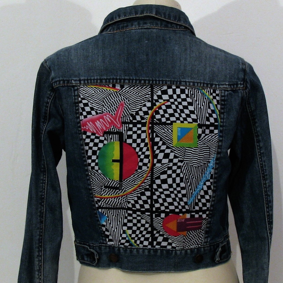 MEMPHIS JACKET Reworked vintage denim jacket with    - Depop