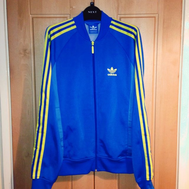 Adidas zip jacket, blue and yellow. Size S, perfect condition. Looks daps  �� #adidas #jacket #blue - Depop