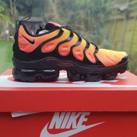 ea5327deccfcd Nike Air Vapormax Plus  Sunset  (Orange) Footlocker - Size - Depop