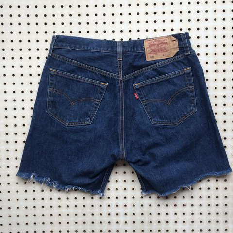 138c9283 Levi 501 Dark Blue Denim Cut Off High Waist Mom Fit Shorts I - Depop