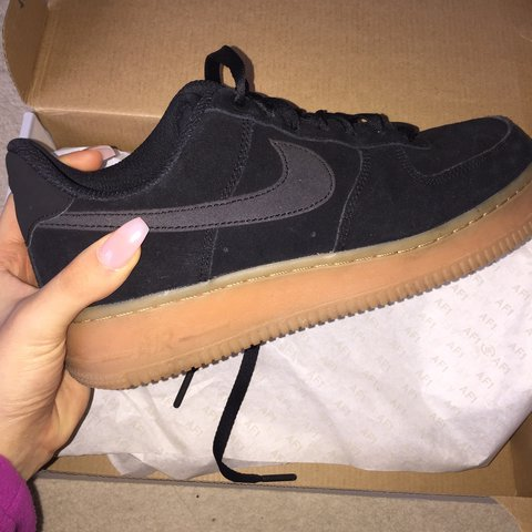 204522a403e5 Nike suede black Air Force 1s with gum sole 🖤 These are in - Depop