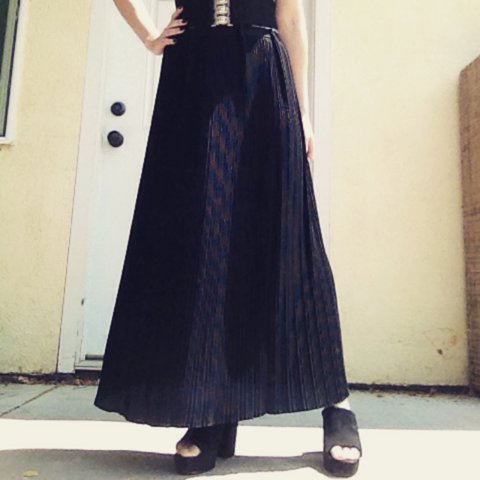 7067674b3a @catsalad. 2 years ago. Fremont, United States. Black accordion pleated  maxi skirt