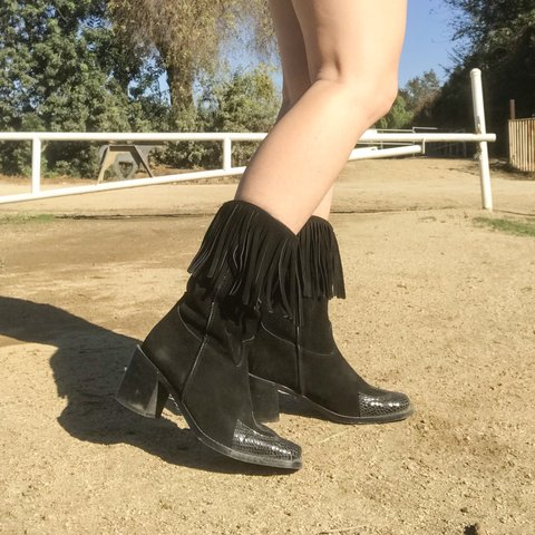 4c7ac9a09c7 Mid-Calf Black Cowboy Boots with Fringe. Made with suede a - Depop