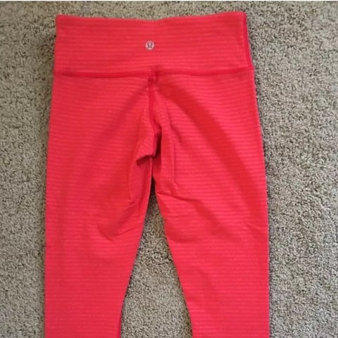 c7907422736 Lululemon Wunder Under Crop Love Red Slope Stripe Worn once - Depop