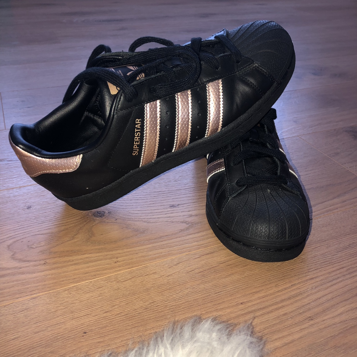 Adidas Superstar Trainers. Black and Rose Gold. ...