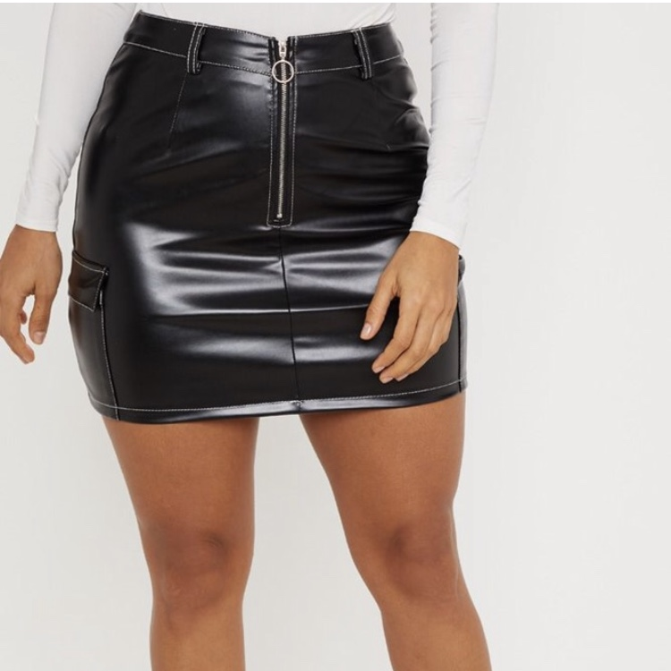 discount 50% off quality first PLT black faux leather skirt size 12! Sold out... - Depop