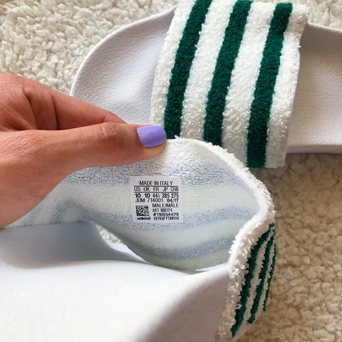 08d8f6142d82 Adidas Adilette slides in white and green terry cloth. These - Depop