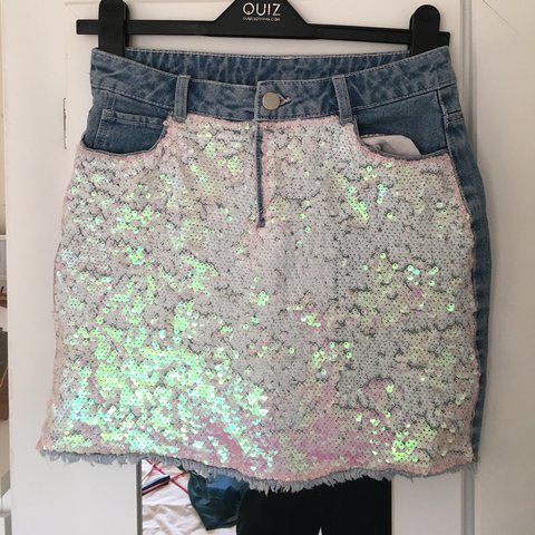 c0f798a8 Asda, George sequin denim skirt , Age 11-12! Would fit a and - Depop