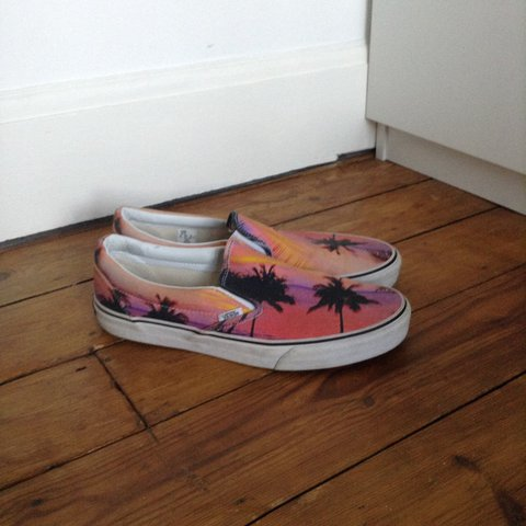 56e73474d7c279 Size 9 slip on Vans with pink tropical pattern. Great 9 10 a - Depop