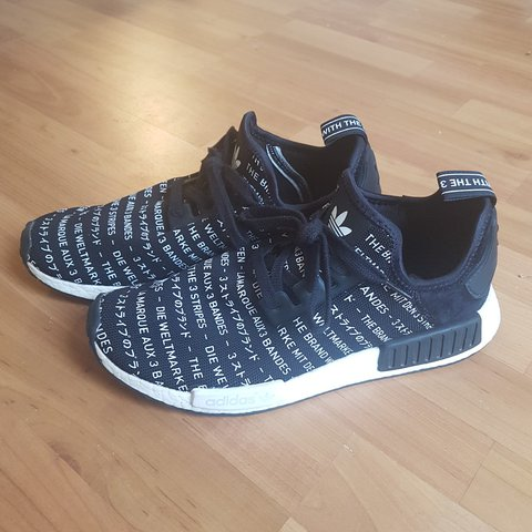 7828743ef0887 shopping adidas nmd blackout whiteout black kicksonfire 60dd7 a6ebc   closeout adidas nmd r1 blackout. japan multi language. 8 10 not but depop  7cba5