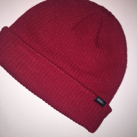 e9f4907850c7 Vans off the wall red beanie hat Worn once indoor Perfect - Depop