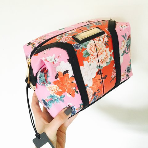 985339d149 River Island Pink and Red floral print make-up bag -brand - Depop