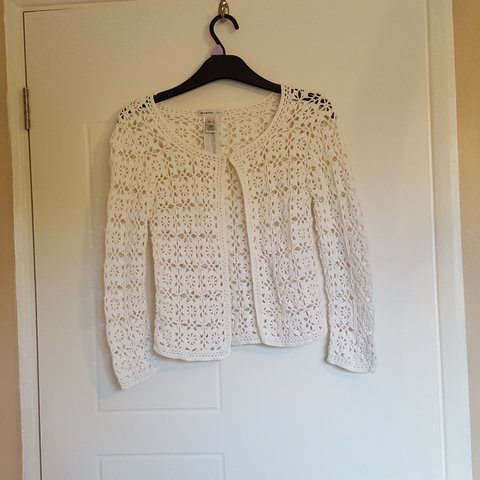 2 For 15 Smart White Crochet Cardigan From Mango Has A At Depop