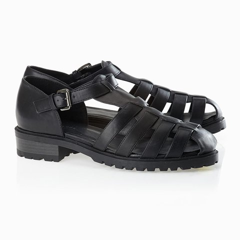 b10e6094660 New Look chunky black caged sandals. Worn a few times as can - Depop