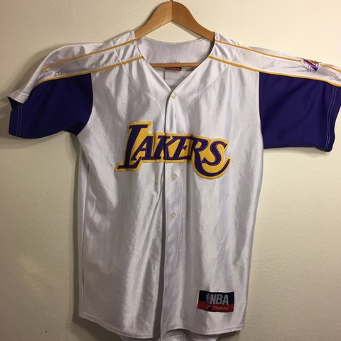 c42f8ff4372 lakers jersey can fit size m l small stain near buttons be - Depop