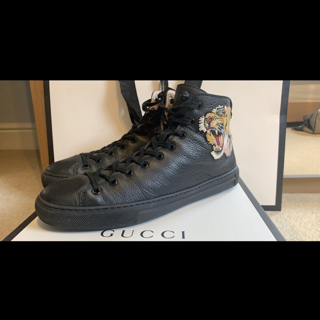 gucci leather high top with tiger