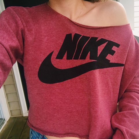 c83cca6bc9972 Rare Vintage Nike off the shoulder coral-pink sweater. The - Depop