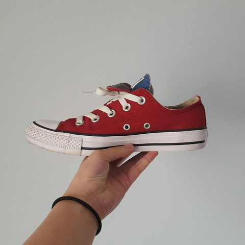 440e2fad8da Double-tongued red and blue converse size 4 for sale💕 Used - Depop