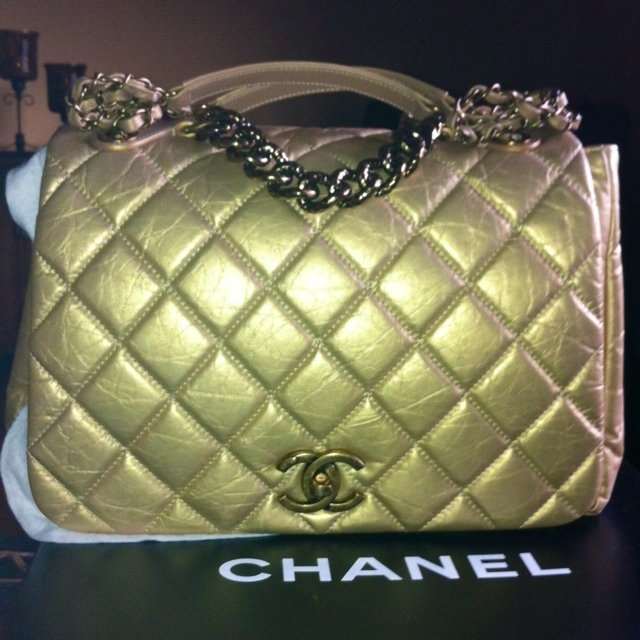 58a2f95dcf29 Sold Out Authentic Chanel Gold Lambskin Double Chain Flap no - Depop