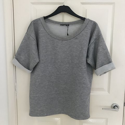 Grey Thick Sweater Rolled Sleeves good as workout gym gear - Depop 27e91890e