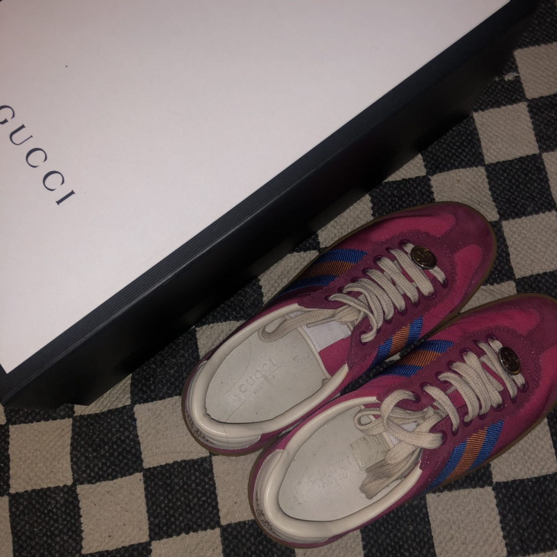 Gucci G74 leather sneaker with web