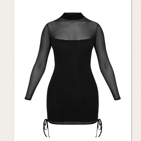 ee644e58caf Nera Black Mesh High Neck Bodycon Dress from Pretty Little a - Depop