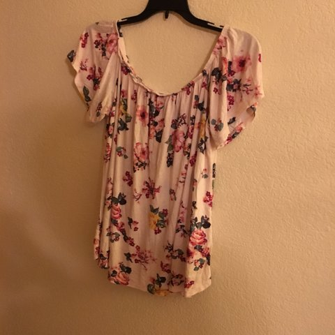 396dfce55b9 @lizorn. last month. Highlands Ranch, United States. Light pink floral off  the shoulder blouse. Brand ...