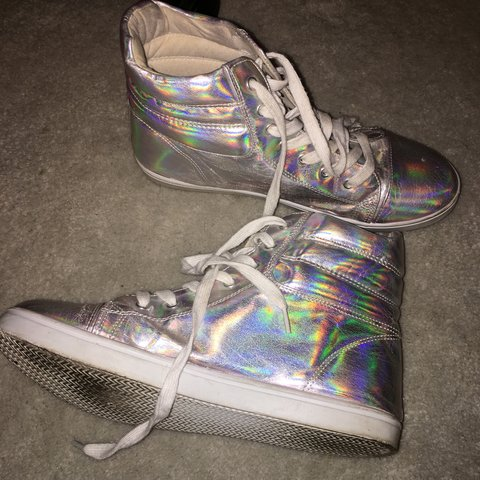 6cf7afd677 Holographic sneakers!! Brand is Qupid in a size shiny silver - Depop