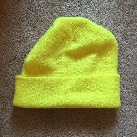 Neon yellow beanie. Only worn once. Brand is Charlotte hat - Depop 12f07ed334f