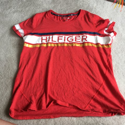 caa4c7aa @lizorn. 3 days ago. Highlands Ranch, United States. Tommy Hilfiger red  shirt. Size xl. • • Tommy Hilfiger red stripe gold white tshirt ...