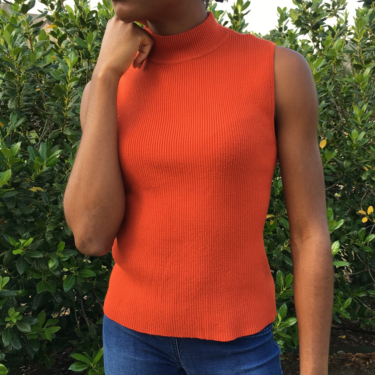 Ribbed burnt orange  turtleneck. Size  M(10-12) I typically - Depop 2a8b634cf