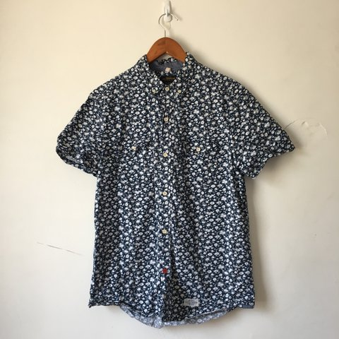58f76bd1 @beltonjon. 2 years ago. Lowell, United States. Navy floral printed short  sleeve button down ...