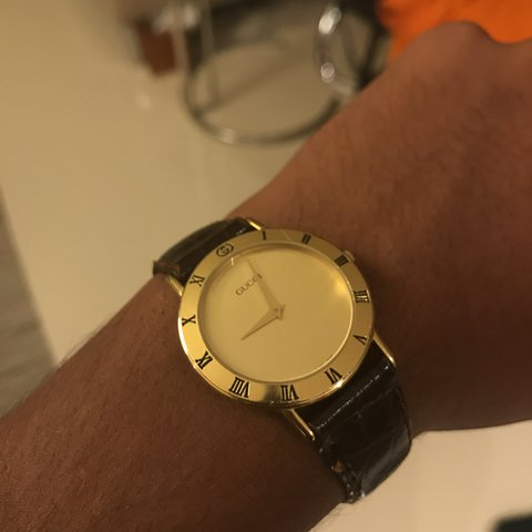 67a9ed1d5 @nyleeeeee. 2 years ago. Mequon, United States. Vintage Gucci Watch Gold,  brown leather strap