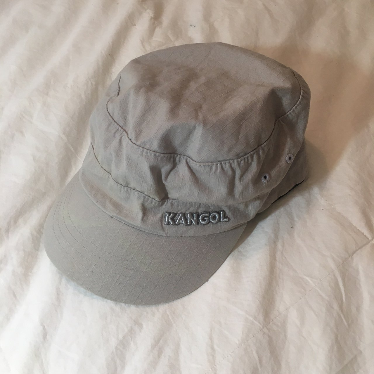 beige Kangol flexfit army cap with side pocket. buy this hat - Depop d3fdc5eb800