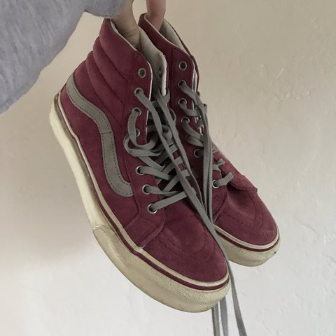 3386505057b69 High top suede vans! These are a hot pink color with grey a - Depop