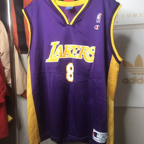 358774a6cc6 @freestateandmind. 15 days ago. Baltimore, United States. Vintage old  school Los Angeles Lakers Kobe Bryant #8 home colorway basketball jersey ...