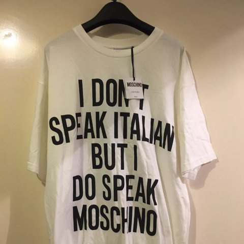 fd3b67d024961 @skenny11. 2 years ago. London, United Kingdom. Moschino T-Shirt/Dress - I  don't speak Italian ...