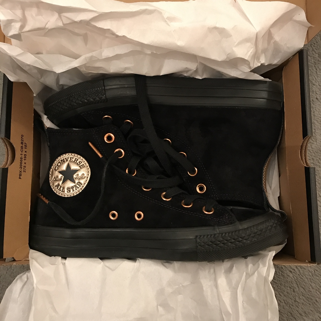 Black suede converse high tops with