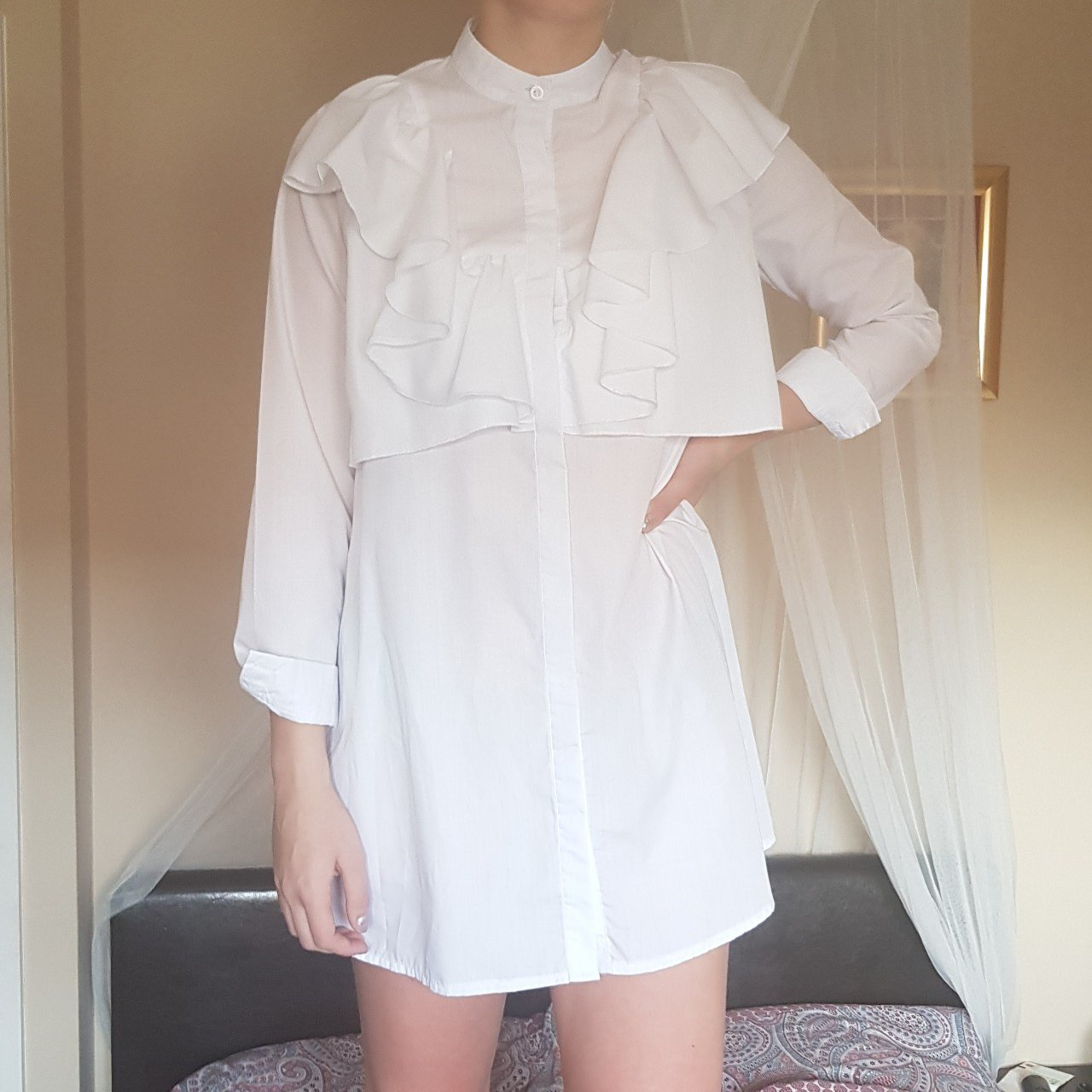 7ca9483f30 Flora white frill front shirt-dress. Bought from pretty only - Depop