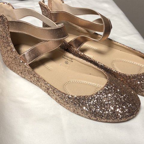 a059f3a9d396 These are rose gold sparkle flats with a criss cross strap. - Depop