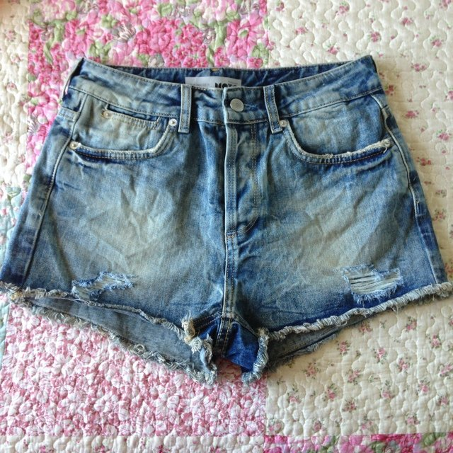 17a2c5cae1 Topshop mid stone wash hotpant denim shorts. Brand new tags. - Depop