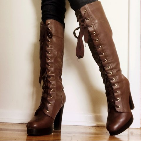 97fbe27e45e Colin Stuart Brown Leather Lace Up Knee High Platform Boots - Depop