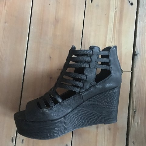 e789ecf8320 River Island black faux snake leather cage platform sandals. - Depop