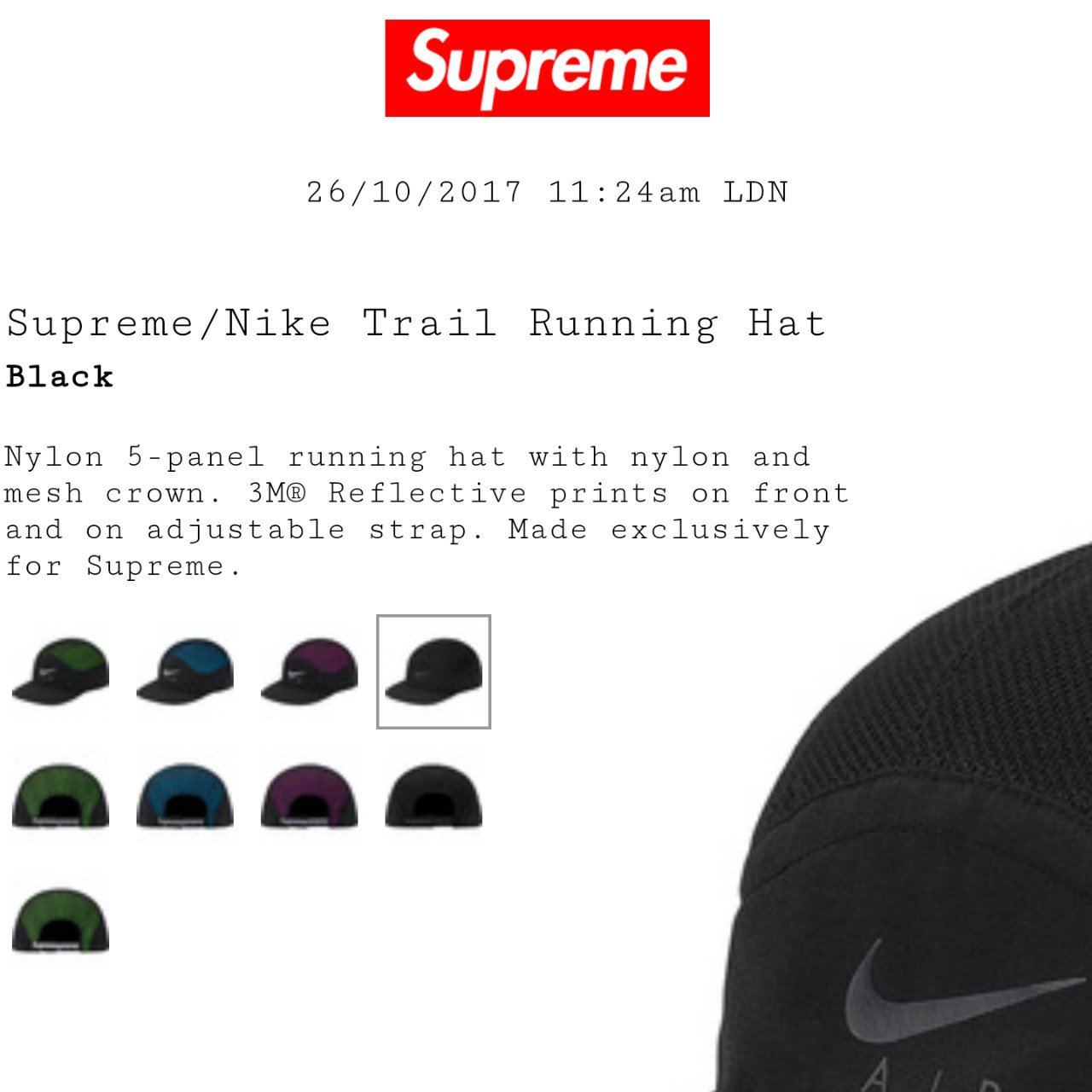 Supreme Nike Trail Running Hat Black. Dropped today and was - Depop a3e440b70c4f
