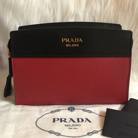 2d575994315625 100% New Authentic PRADA Red/ Black Esplanade Small Saffiano - Depop