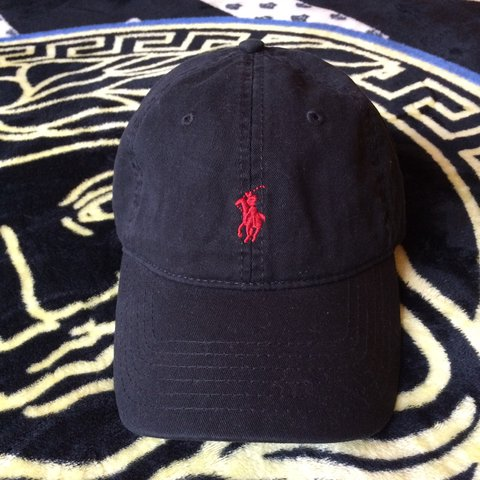 b0438717d8a Polo Ralph Lauren Dad Hat Black with red embroidered good - Depop