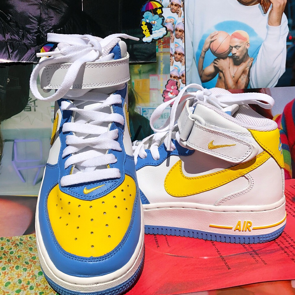 blue and yellow nike high tops Shop